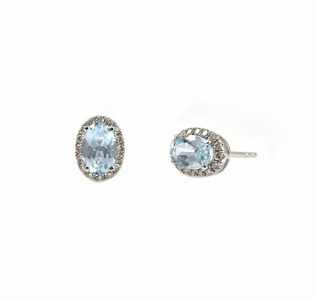 Aquamarine Oval And Diamond Pendant | B23162