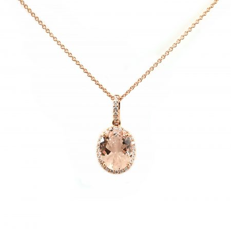 Morganite Oval And Diamond Pendant | B23163