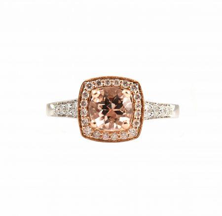 Morganite And Diamond Halo Dress Ring   B23189