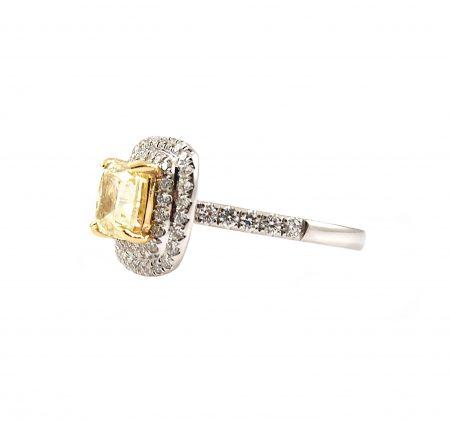 Cushion Cut Yellow Diamond Engagement Ring | B23175