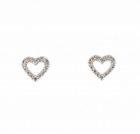 Diamond Love Heart Stud Earrings | B22673
