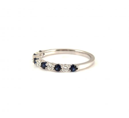 Sapphire And Diamond Claw Set Wedding Ring | B22806