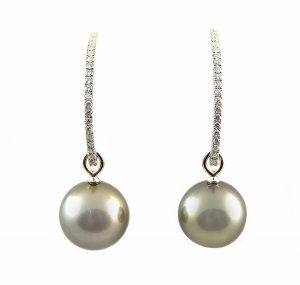Fancy Diamond And Tahitian Pearl Drop Earrings | B23209