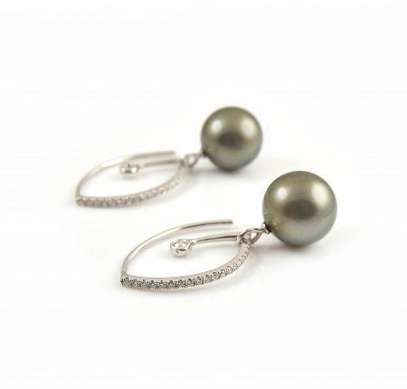 Fancy Diamond And Tahitian Pearl Drop Earrings   B23209