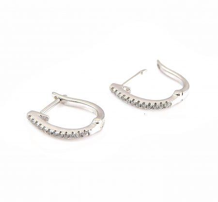 Diamond White Gold Huggie Earrings | B23237