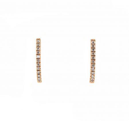 Diamond Rose Gold Huggie Earrings | B23238