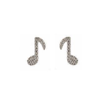 Diamond Musical Note Stud Earrings | B22729