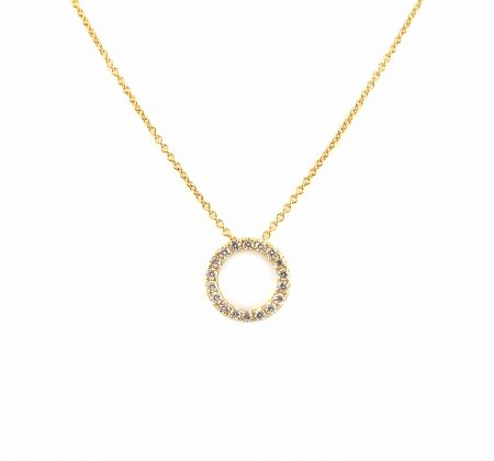 Yeallow Gold Diamond Set Circle Pendant | B23263