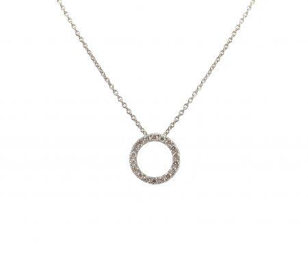 White Gold Diamond Set Circle Pendant   B23264