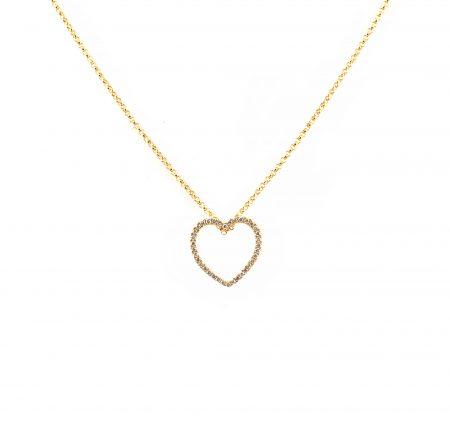 Yellow Gold Diamond Heart Pendant | B23281