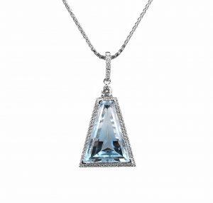 Aquamarine And Diamond Custom Collection Pendant | B23282
