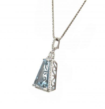 Aquamarine And Diamond Custom Collection Pendant   B23282