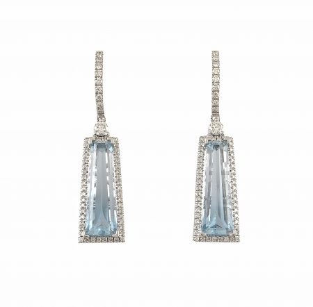 Aquamarine And Diamond Custom Collection Earrings   B23283