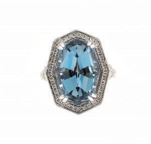Aquamarine And Diamond Custom Collection Ring | B23284