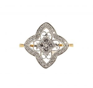 Diamond Set Deco Style Ring | B23326