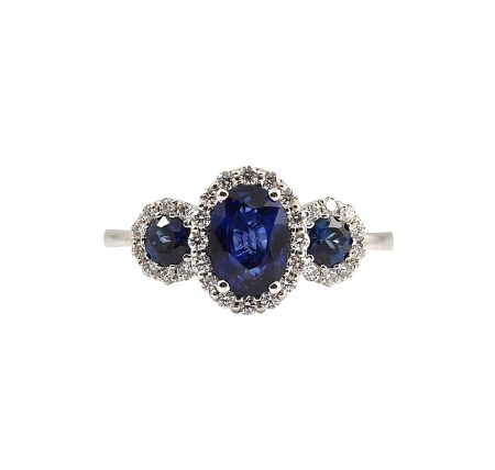Sapphire Oval Trilogy Ring | B23404
