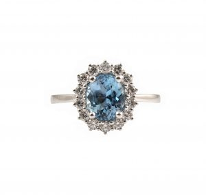 Aquamarine Diamond Halo Dress Ring | B23322