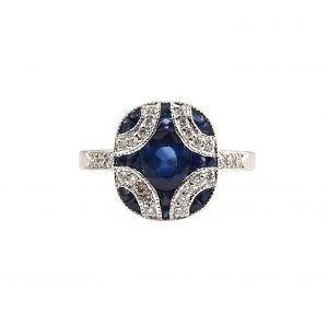 Sapphire And Diamond Art Deco Style Ring | B23390