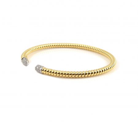 Yellow Gold Open Twist And Diamond End Bangle | B23407