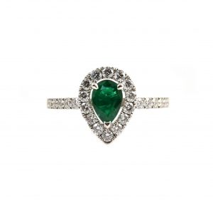 Emerald Pear And Diamond Dress Ring | B23444
