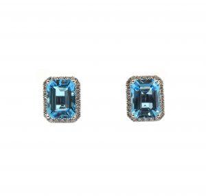 Topaz And Diamond Halo Earrings | B23453
