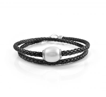 Autore Leather Plaited South Sea Pearl Bracelet | B23465