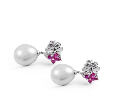 Autore Pink Sapphire And South Sea Pearl Earrings | B23470