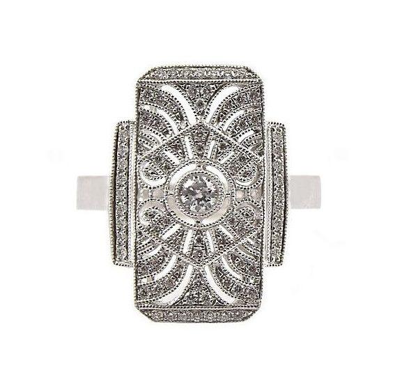 Art Deco Style Dress Ring B23622 Diamonds Pearls Perth