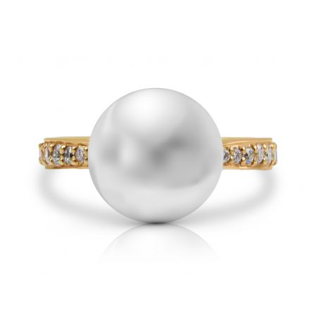 South Sea Pearl Ring with Diamond Band   B23807