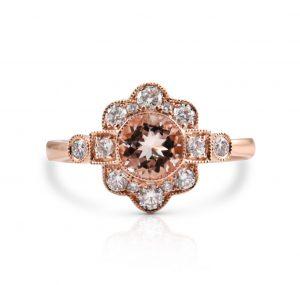 Rose Gold Deco Style Morganite Ring | B23830