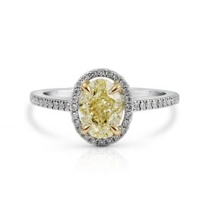 Oval Yellow Diamond Halo Engagement Ring | B23866