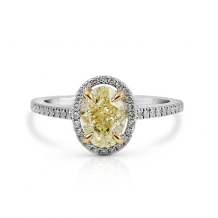 Oval Yellow Diamond Halo Engagement Ring | B23866