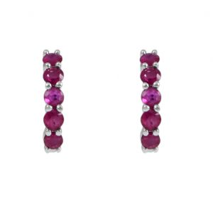 Ruby mini hoops earrings set in a claw setting in 18K white gold with 10 rubies in total