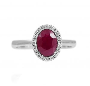 Oval Ruby and Diamond Halo Ring | B24487