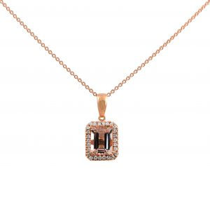 Morganite emerald cut with a diamond halo the morganite is 1.31ct set in rose gold with 0.12ct diamonds