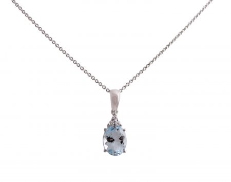 Aquamarine oval cut and three diamonds pendant set in 18K white gold. Featuring an 1.43ct oval cut Aquamarine with three round brilliant cut diamonds at the bottom of the bail.