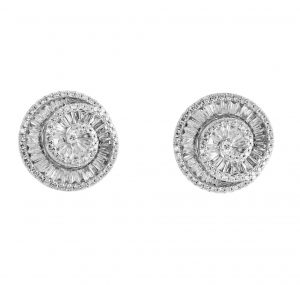 A pair of 18k white gold baguette swirl diamond stud earrings, arranged in a deco style open spiral with round brilliant diamonds framing the swirl. Carat: Diamonds 238 = 2.36ct