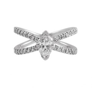 Marquise diamond ring set in a crisscross band of diamonds all set in Platinum. Featuring a 0.50ct Marquise diamond set with four claws in a scalloped design.This ring is truely unique. CARAT  : 0.50ct MARQUISE CARAT  :0.355ct ROUND BRILLIANTS     COLOUR : H CLARITY : VS2