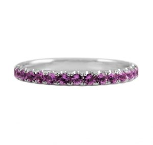 Pink sapphire Eternity ring all the way around set in 18k white gold claw set in a unique scalloped design. The band is set with 31 pink sapphires. This design can be made with any size pink sapphires as a custom make, to suit. AA Pink Sapphires carat: 31 = 1.028ct * This style ring has the pattern/diamonds continuing the entire way around the band, therefore cannot be resized. The ring can be made to order in your ring size – Please contact us directly for a quote.