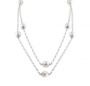 Autore long silver chain necklace with South Sea Pearls.