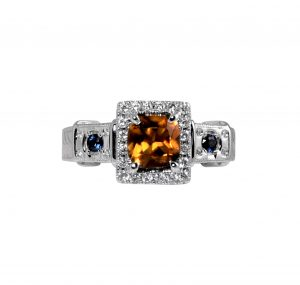Fancy ring with Citrine and Sapphires